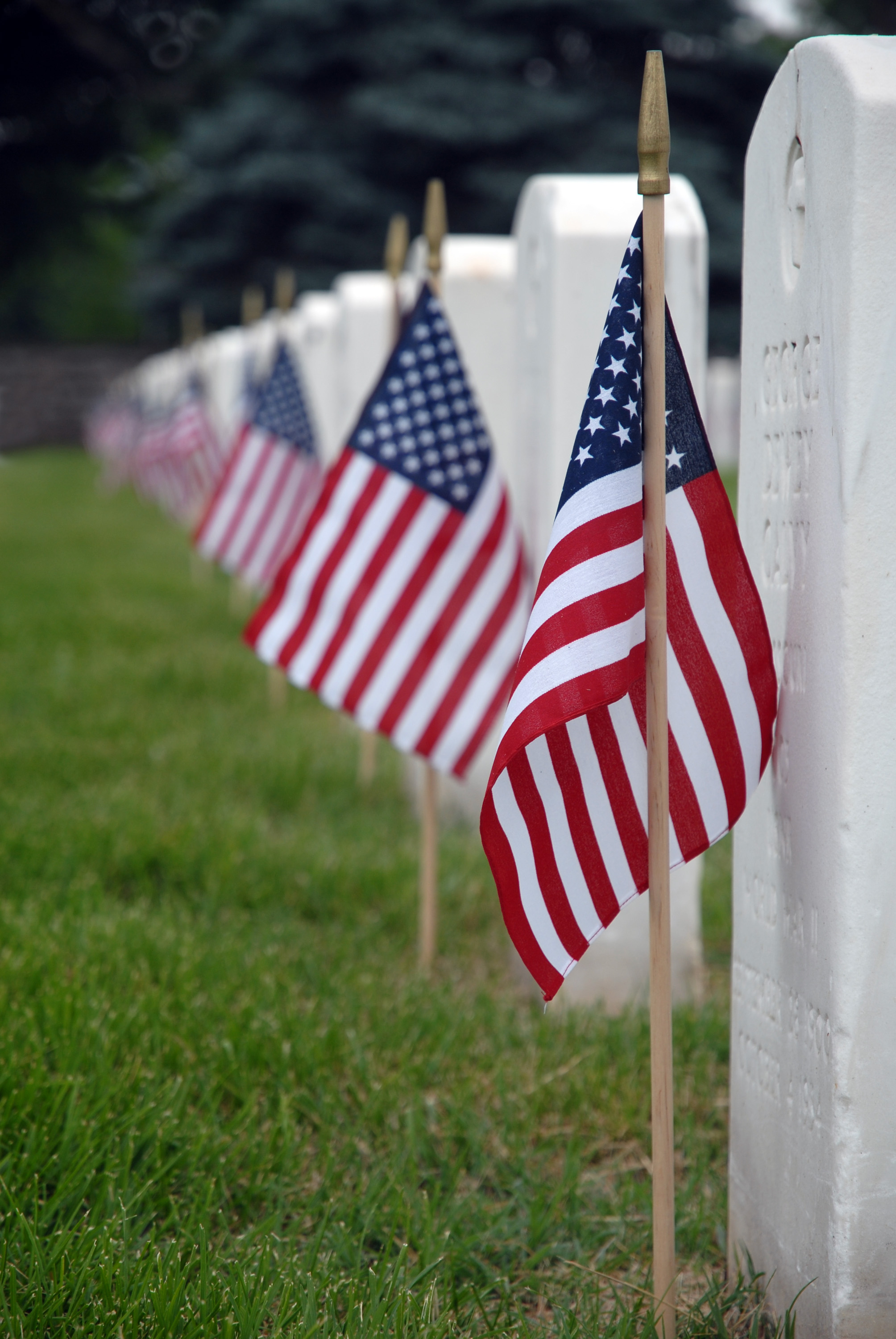 American Flags in Front of Gravestones for Memorial Day